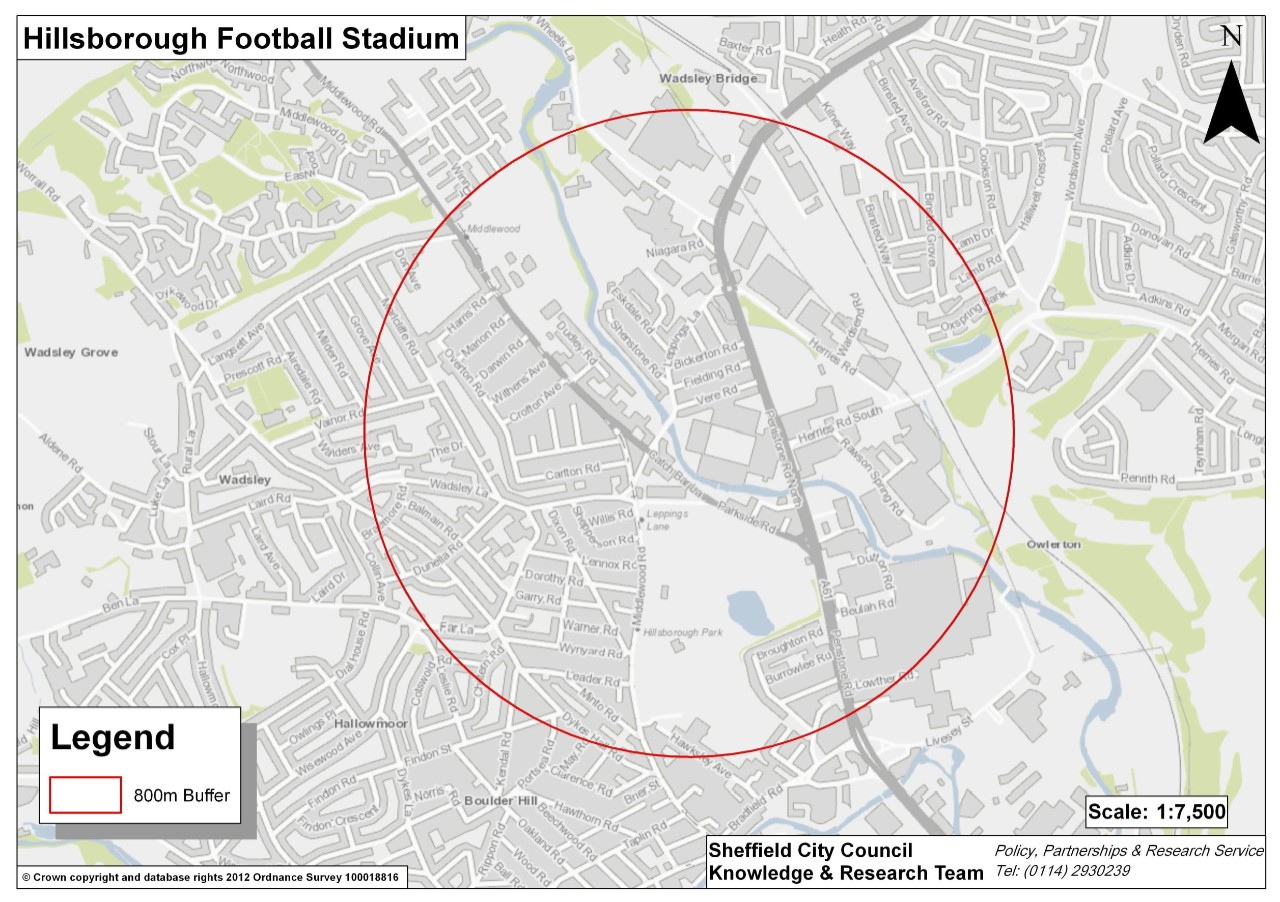 Map showing the area that street traders can trade in for Sheffield Wednesday matches.